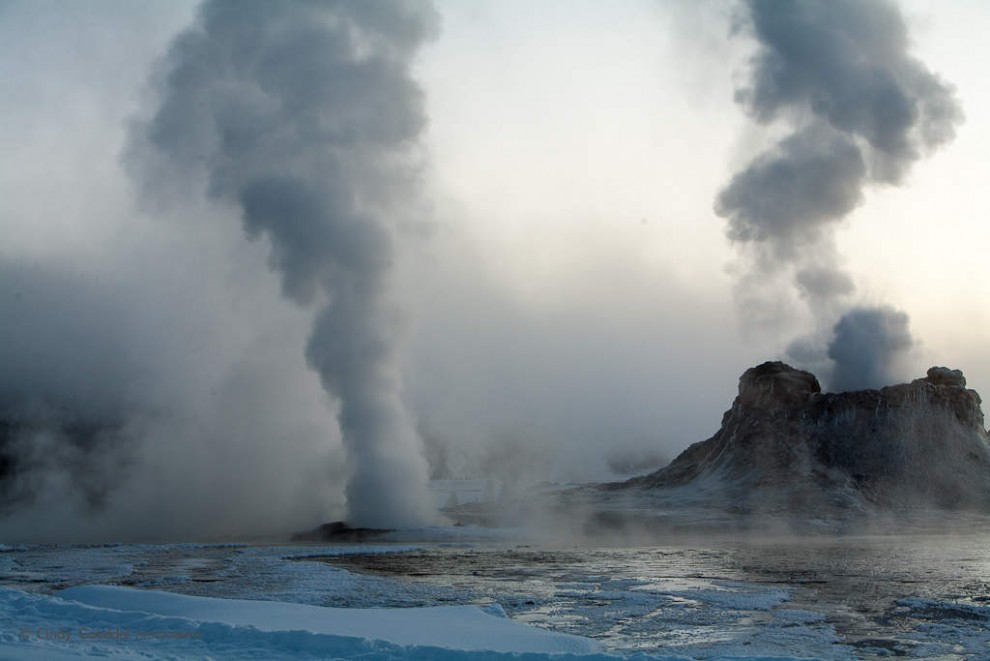 Castle Geyser, Steam and Fog